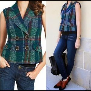 CAbi Blue Green Plaid Tweed Double Breasted Vest
